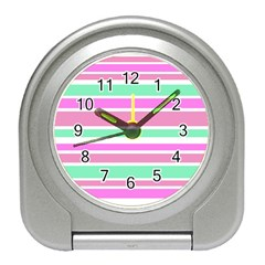 Pink Green Stripes Travel Alarm Clocks by BrightVibesDesign