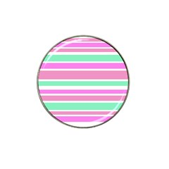 Pink Green Stripes Hat Clip Ball Marker (4 Pack) by BrightVibesDesign