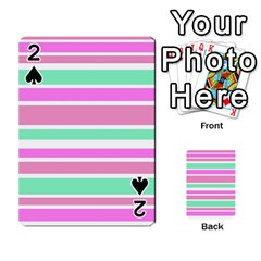 Pink Green Stripes Playing Cards 54 Designs  by BrightVibesDesign