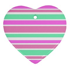 Pink Green Stripes Heart Ornament (2 Sides) by BrightVibesDesign