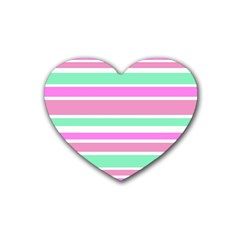 Pink Green Stripes Heart Coaster (4 Pack)  by BrightVibesDesign