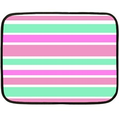 Pink Green Stripes Fleece Blanket (mini) by BrightVibesDesign