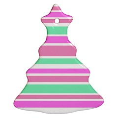 Pink Green Stripes Ornament (christmas Tree) by BrightVibesDesign