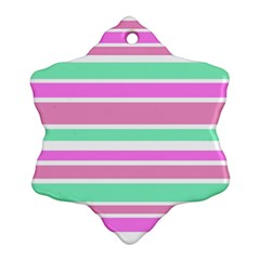 Pink Green Stripes Snowflake Ornament (2 Side) by BrightVibesDesign