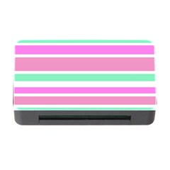 Pink Green Stripes Memory Card Reader With Cf by BrightVibesDesign