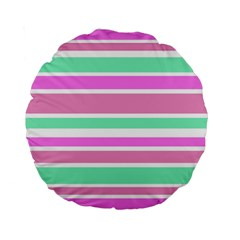 Pink Green Stripes Standard 15  Premium Round Cushions by BrightVibesDesign