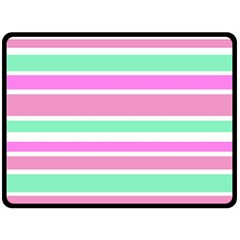 Pink Green Stripes Double Sided Fleece Blanket (large)  by BrightVibesDesign