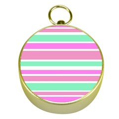 Pink Green Stripes Gold Compasses by BrightVibesDesign