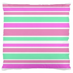 Pink Green Stripes Standard Flano Cushion Case (two Sides)