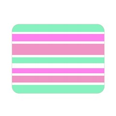 Pink Green Stripes Double Sided Flano Blanket (mini)  by BrightVibesDesign