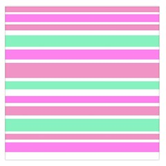 Pink Green Stripes Large Satin Scarf (square) by BrightVibesDesign