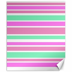 Pink Green Stripes Canvas 8  X 10  by BrightVibesDesign