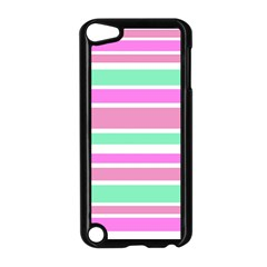 Pink Green Stripes Apple Ipod Touch 5 Case (black) by BrightVibesDesign