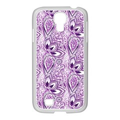 Purple Paisley Doodle Samsung Galaxy S4 I9500/ I9505 Case (white) by KirstenStar