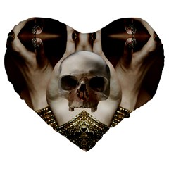 Skull Magic Large 19  Premium Flano Heart Shape Cushions by icarusismartdesigns