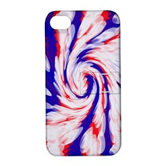 Groovy Red White Blue Swirl Apple Iphone 4/4s Hardshell Case With Stand by BrightVibesDesign