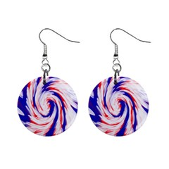 Groovy Red White Blue Swirl Mini Button Earrings