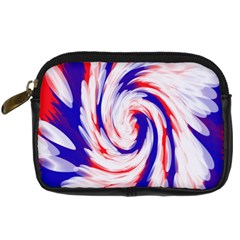 Groovy Red White Blue Swirl Digital Camera Cases by BrightVibesDesign