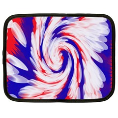 Groovy Red White Blue Swirl Netbook Case (xl)  by BrightVibesDesign