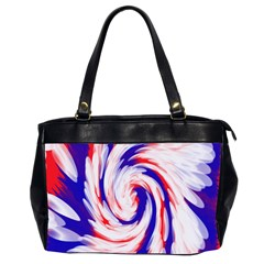 Groovy Red White Blue Swirl Office Handbags (2 Sides)  by BrightVibesDesign