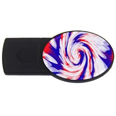 Groovy Red White Blue Swirl Usb Flash Drive Oval (2 Gb)  by BrightVibesDesign