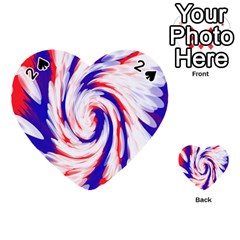 Groovy Red White Blue Swirl Playing Cards 54 (heart)  by BrightVibesDesign