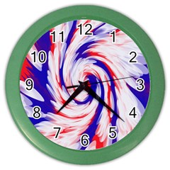 Groovy Red White Blue Swirl Color Wall Clocks by BrightVibesDesign