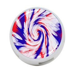 Groovy Red White Blue Swirl 4 Port Usb Hub (two Sides)  by BrightVibesDesign