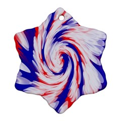 Groovy Red White Blue Swirl Snowflake Ornament (2 Side) by BrightVibesDesign