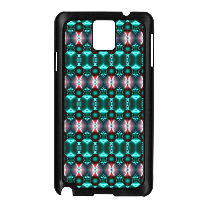 Fancy Teal Red Pattern Samsung Galaxy Note 3 N9005 Case (Black)