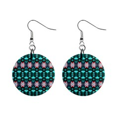 Fancy Teal Red Pattern Mini Button Earrings