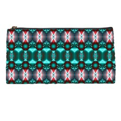 Fancy Teal Red Pattern Pencil Cases by BrightVibesDesign