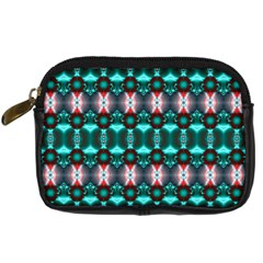 Fancy Teal Red Pattern Digital Camera Cases by BrightVibesDesign