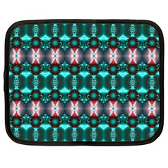 Fancy Teal Red Pattern Netbook Case (xl)  by BrightVibesDesign
