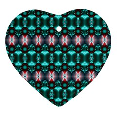Fancy Teal Red Pattern Ornament (heart)  by BrightVibesDesign
