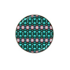 Fancy Teal Red Pattern Hat Clip Ball Marker (4 Pack) by BrightVibesDesign