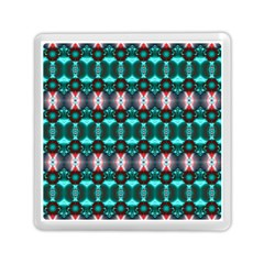 Fancy Teal Red Pattern Memory Card Reader (square)  by BrightVibesDesign