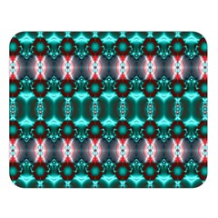 Fancy Teal Red Pattern Double Sided Flano Blanket (large)  by BrightVibesDesign