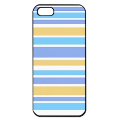 Blue Yellow Stripes Apple Iphone 5 Seamless Case (black) by BrightVibesDesign