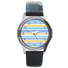 Blue Yellow Stripes Round Metal Watch by BrightVibesDesign