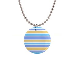 Blue Yellow Stripes Button Necklaces by BrightVibesDesign