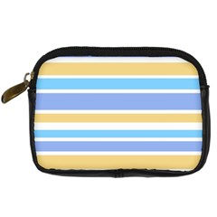 Blue Yellow Stripes Digital Camera Cases by BrightVibesDesign
