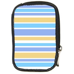 Blue Yellow Stripes Compact Camera Cases by BrightVibesDesign