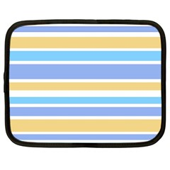 Blue Yellow Stripes Netbook Case (xl)  by BrightVibesDesign