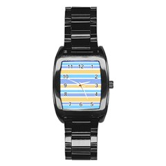 Blue Yellow Stripes Stainless Steel Barrel Watch by BrightVibesDesign