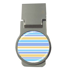 Blue Yellow Stripes Money Clips (round)  by BrightVibesDesign