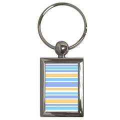 Blue Yellow Stripes Key Chains (rectangle)  by BrightVibesDesign