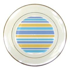 Blue Yellow Stripes Porcelain Plates by BrightVibesDesign