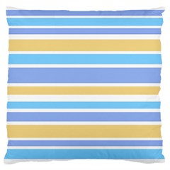Blue Yellow Stripes Large Flano Cushion Case (one Side) by BrightVibesDesign