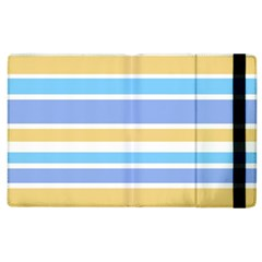Blue Yellow Stripes Apple Ipad 3/4 Flip Case by BrightVibesDesign